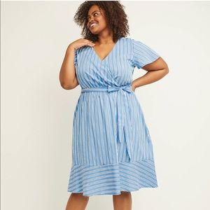 Faux Wrap Fit & Flare Dress